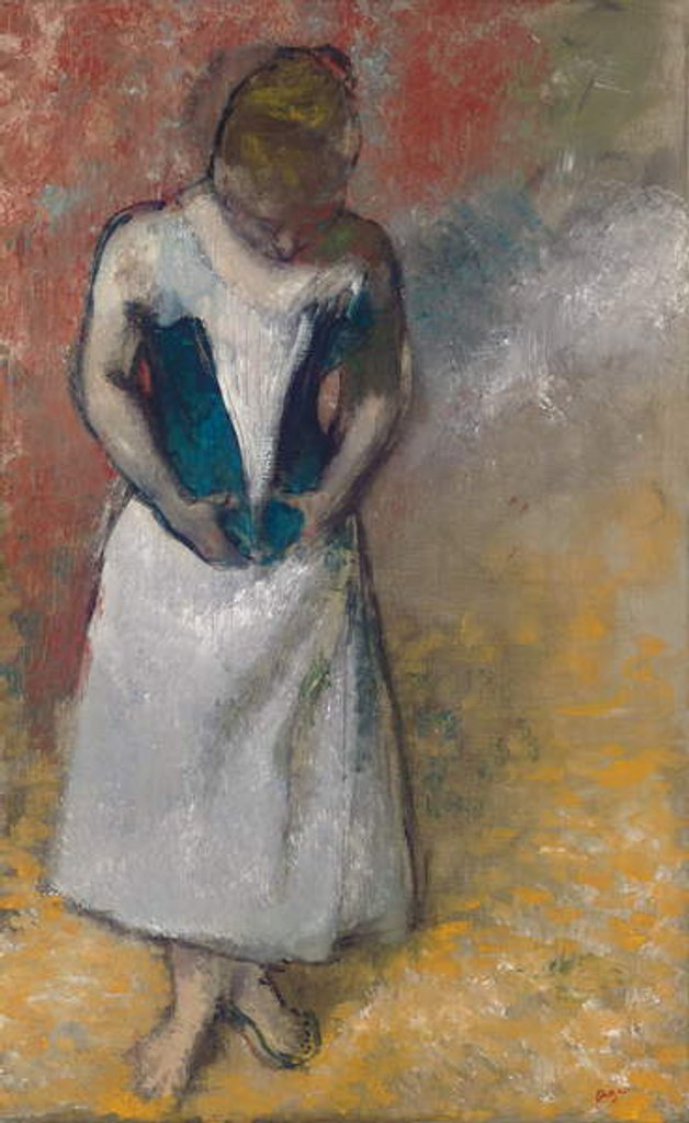 Detail of Standing Woman Seen from the Front, Clasping her Corset by Edgar Degas