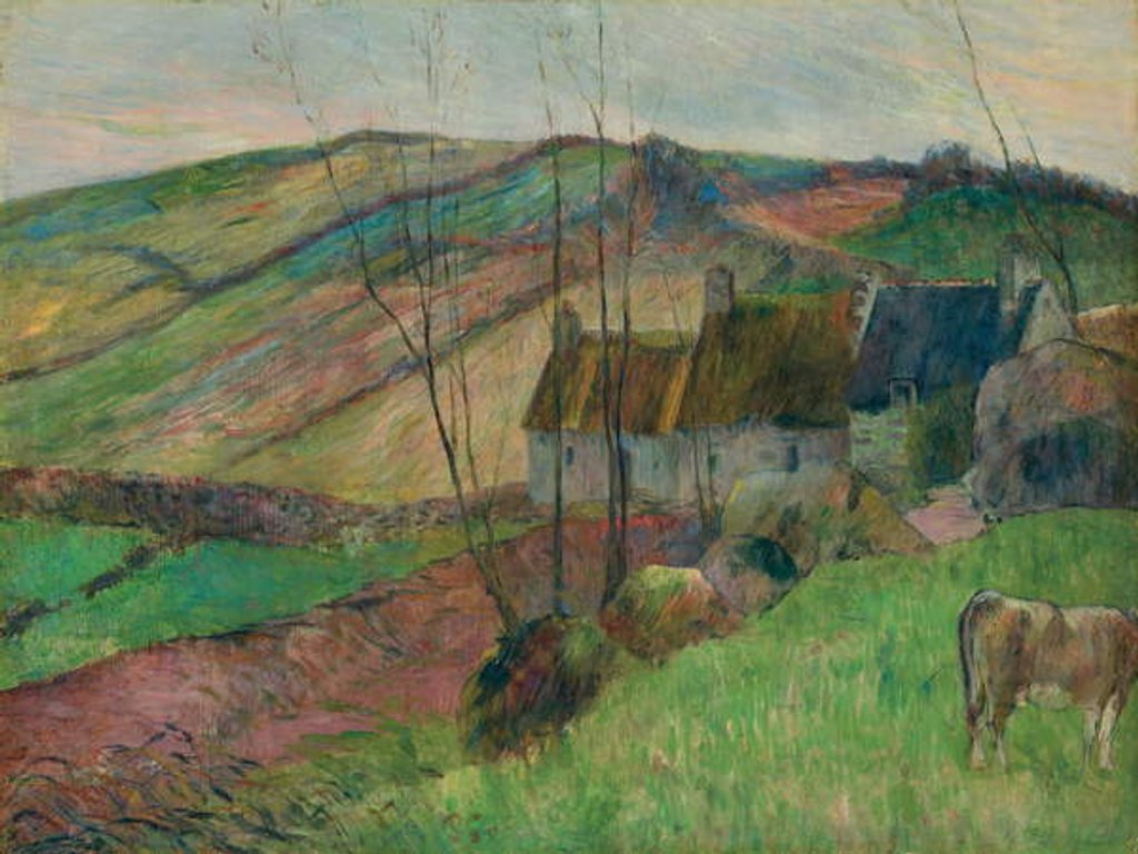 Detail of Cottages on the Flanks of Mont Sainte-Marguerite by Paul Gauguin