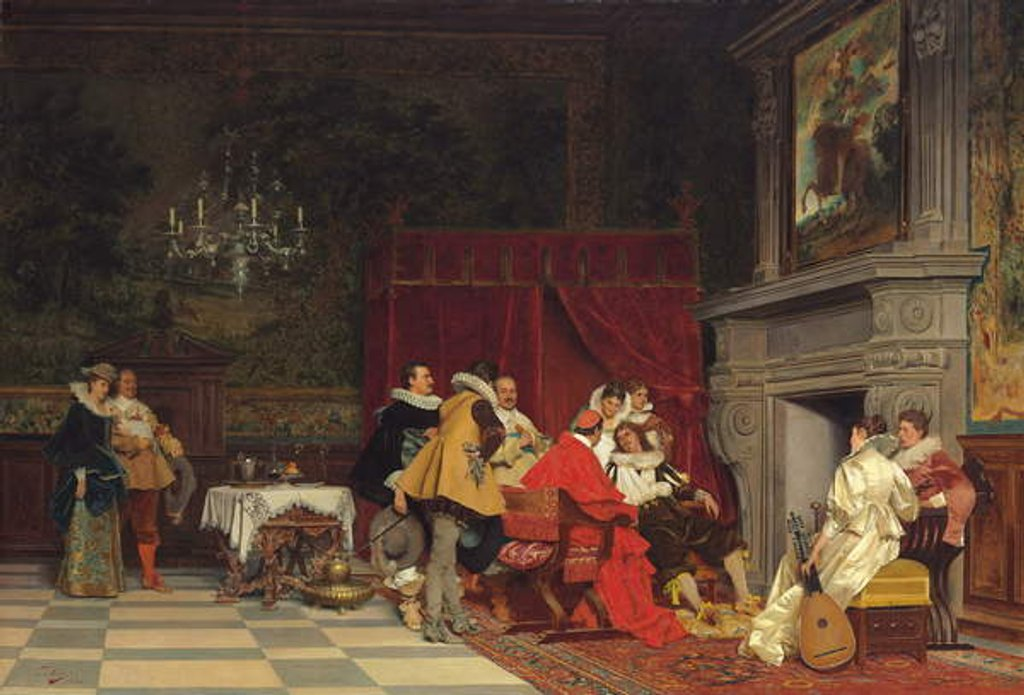 Detail of At the Cardinal's, 1880 by Tito Conti