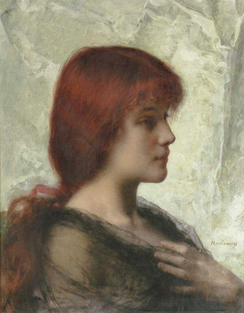 Detail of An Auburn Beauty by Alexei Alexevich Harlamoff