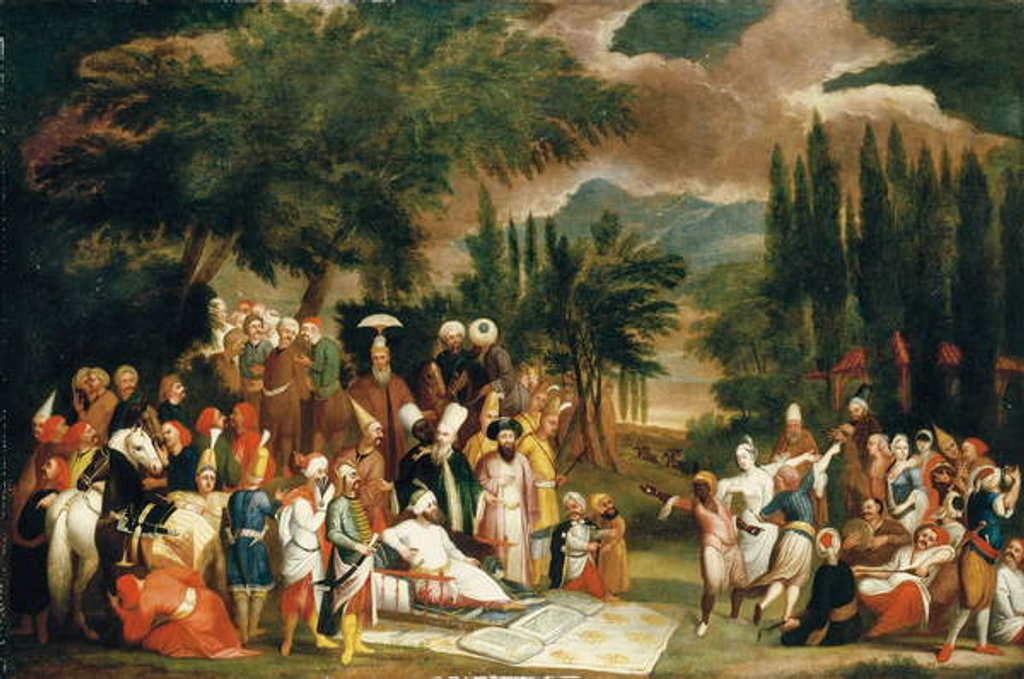 Detail of The hunting party of Sultan Ahmed III by Jean Baptiste Vanmour