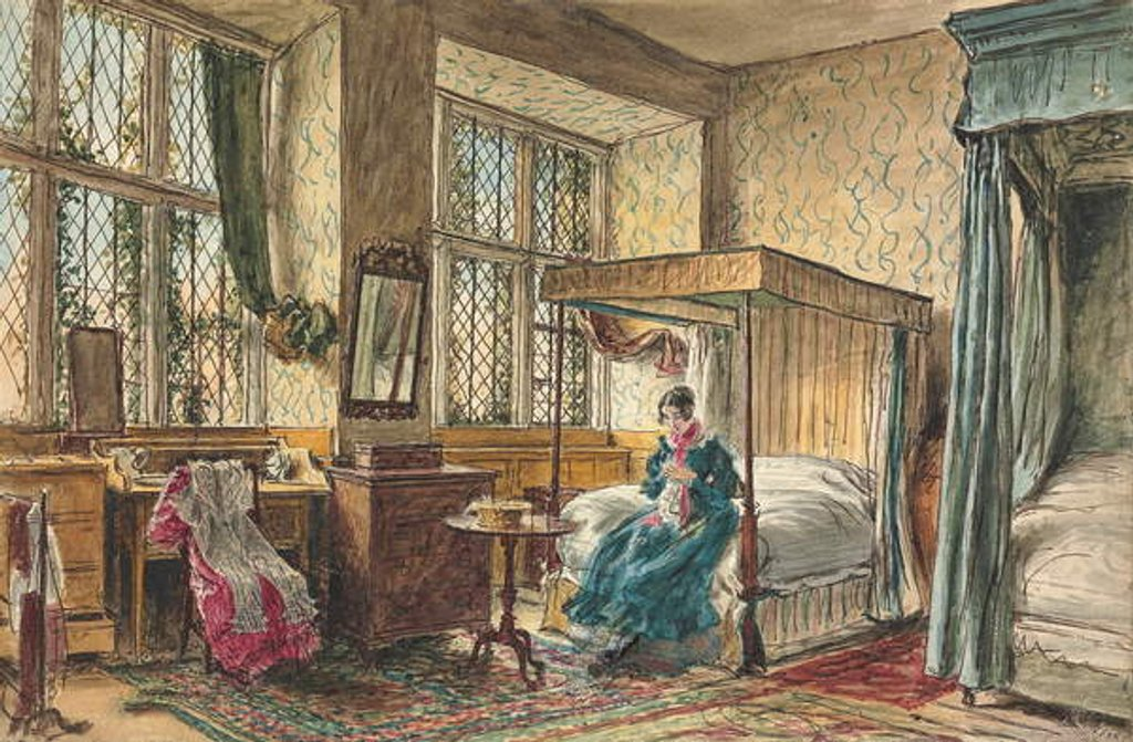 Detail of Miss Moore sewing in her bedroom, Hardwick Hall, Derbyshire by William Henry Hunt