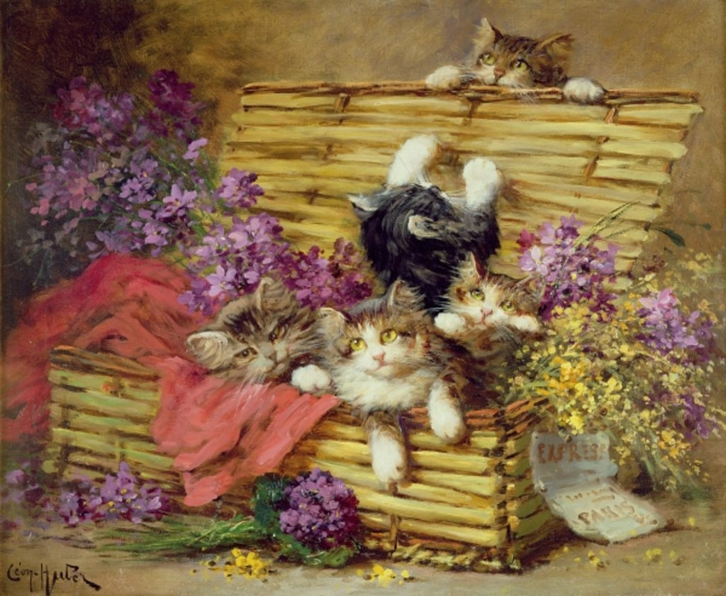 Detail of Kittens at Play by Leon-Charles Huber