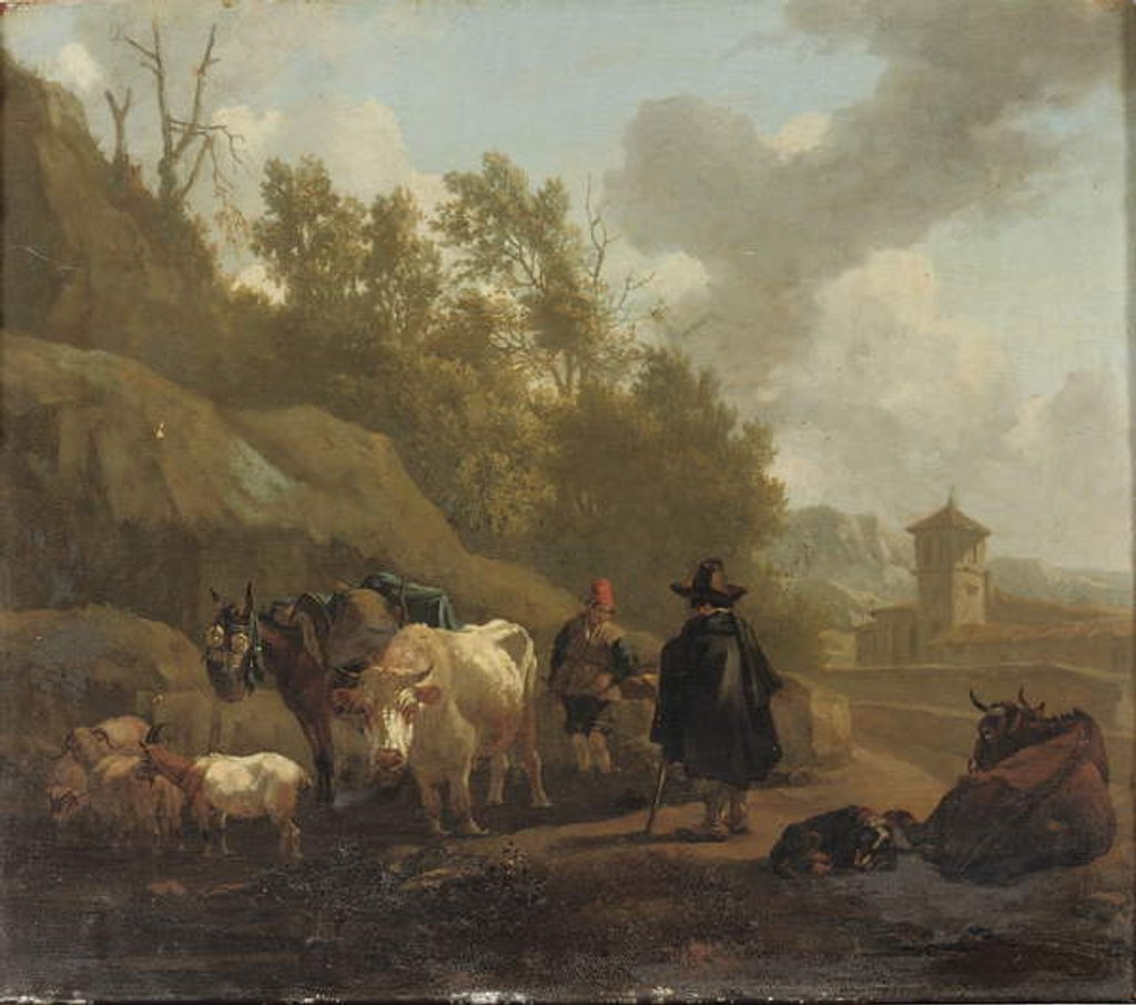 Detail of A cowherd and cattle in an Italianate landscape by Willem Romeyn