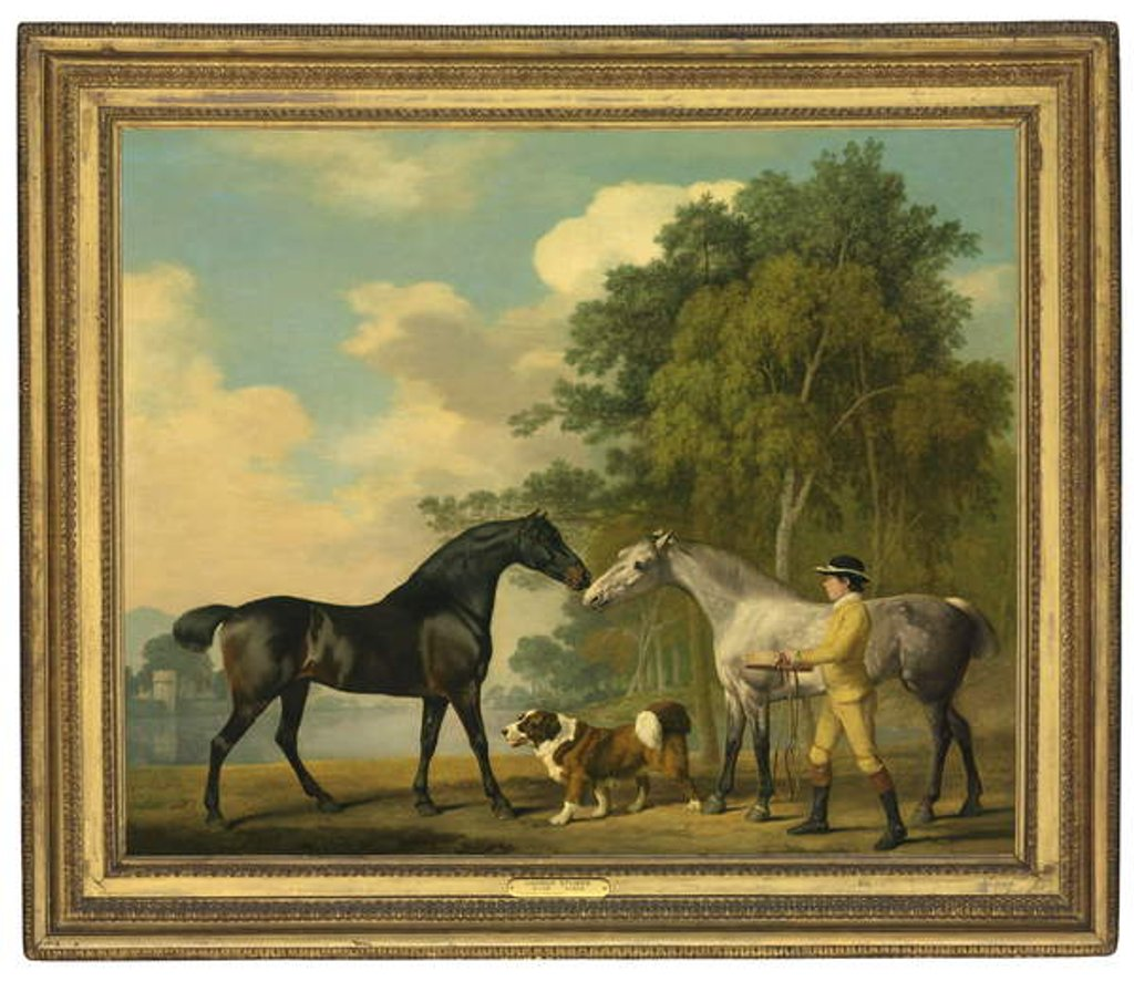 Detail of Two hunters with a young groom and a dog by a lake, 1778 by George Stubbs