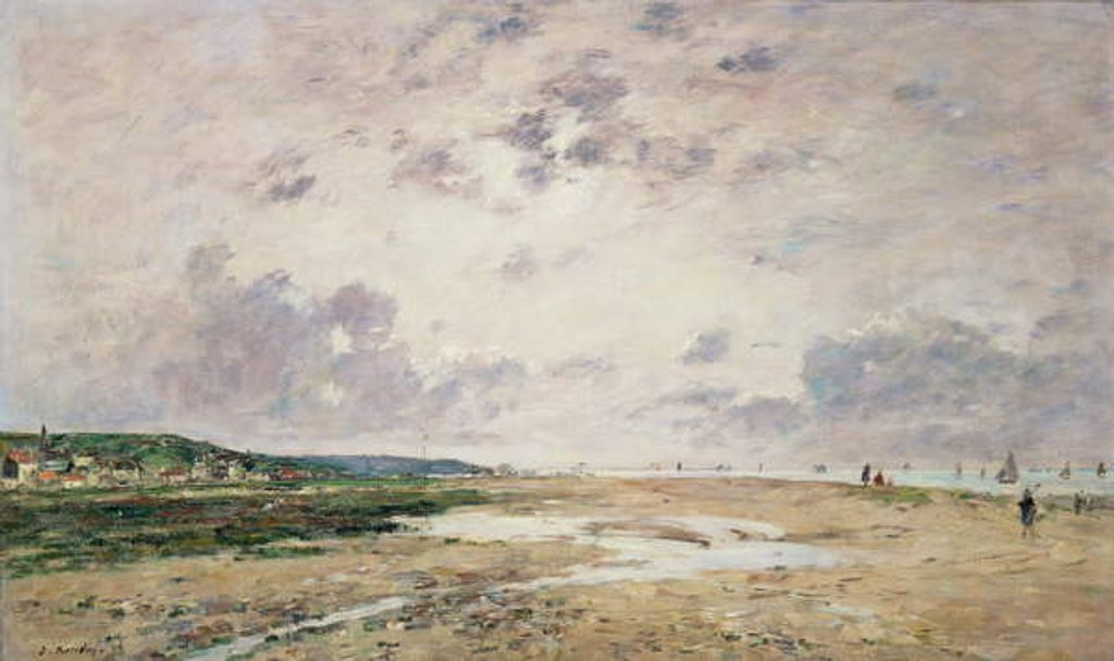 Detail of The Beach at Low Tide, Deauville by Eugene Louis Boudin