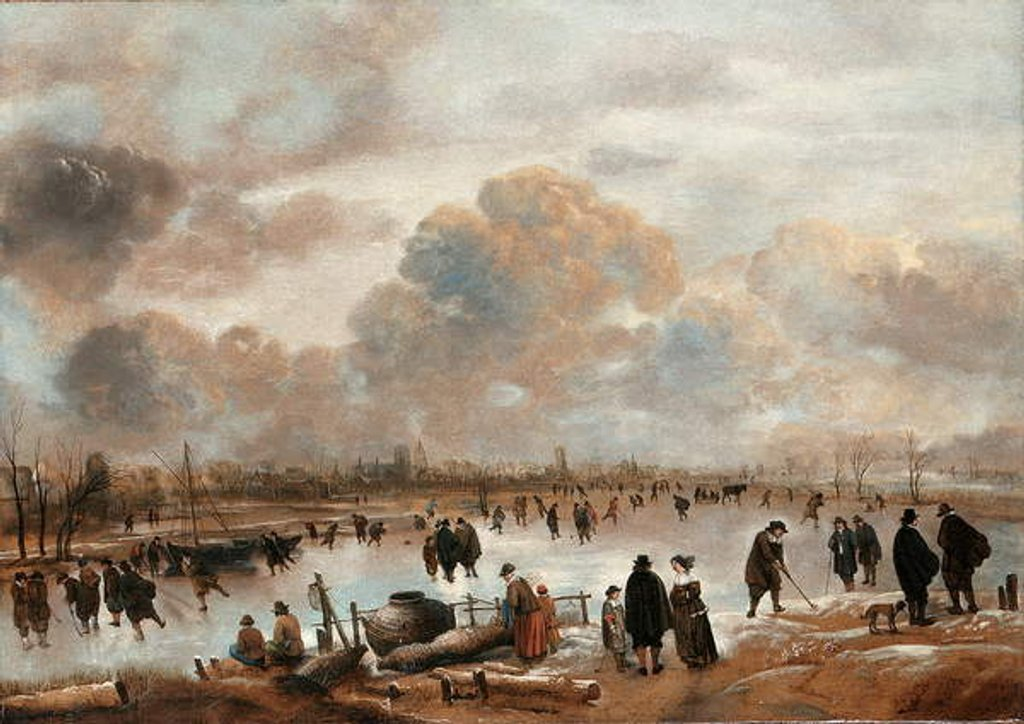 Detail of A Winter Landscape with Skaters and Townsfolk on a Frozen Waterway by Aert van der Neer