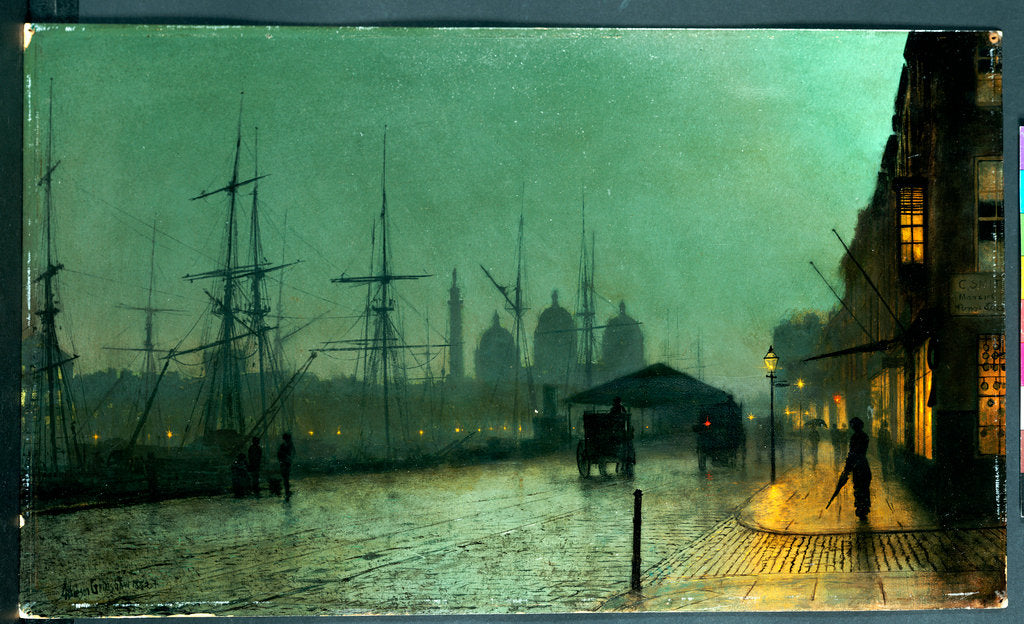 Detail of Humber Dockside, Hull, 1882 by John Atkinson Grimshaw