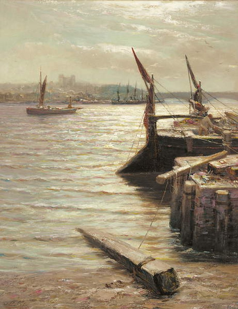 Detail of Barges moored by the riverbank by Colin Hunter