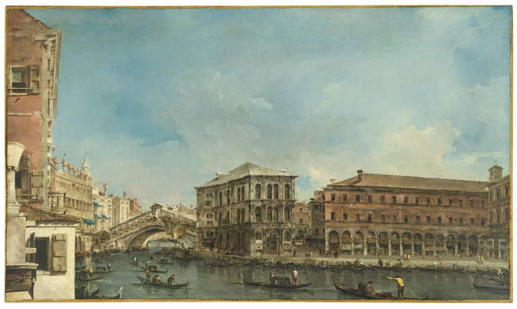 Detail of Venice: the Rialto Bridge with the Palazzo dei Camerlenghi by Francesco Guardi
