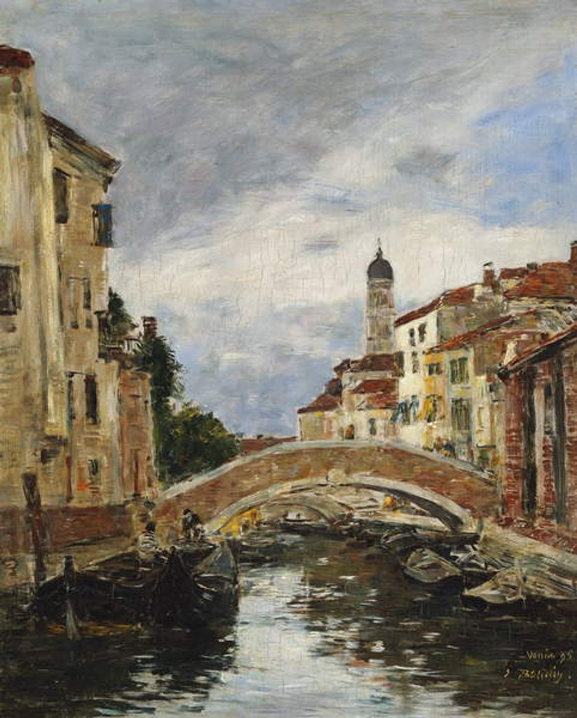 Detail of A Small Venetian Canal, 1895 by Eugene Louis Boudin