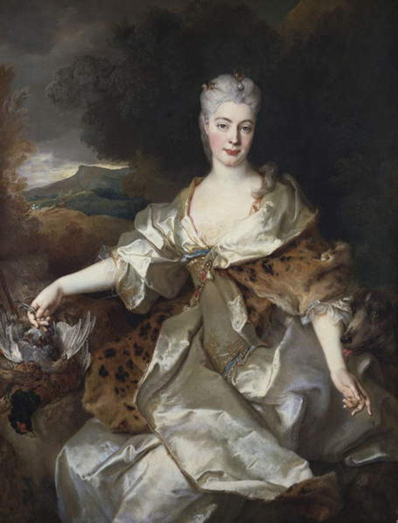 Detail of Portrait of the Countess of Noirmont as Diana by Nicolas de Largilliere