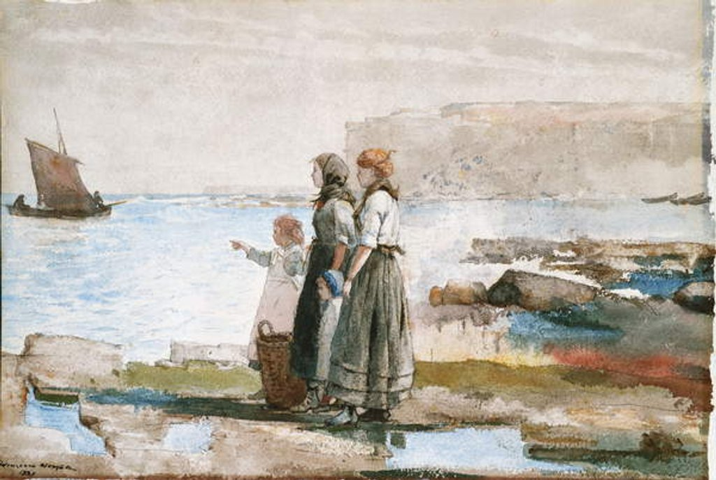Waiting for the return of the Fishing Fleets, 1881 by Winslow Homer
