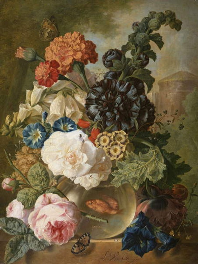Detail of Roses, chrysanthemums, peonies and other flowers in a glass vase with goldfish on a stone ledge by Jan van Os