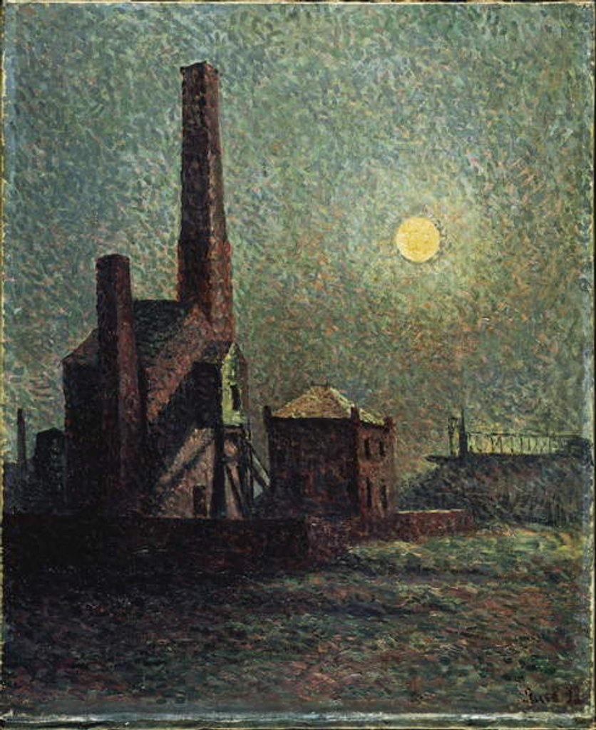 Detail of Factory by Moonlight by Maximilien Luce