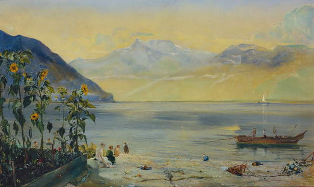 Detail of Lake Leman with the Dents du Midi in the Distance, 1863 by John William Inchbold