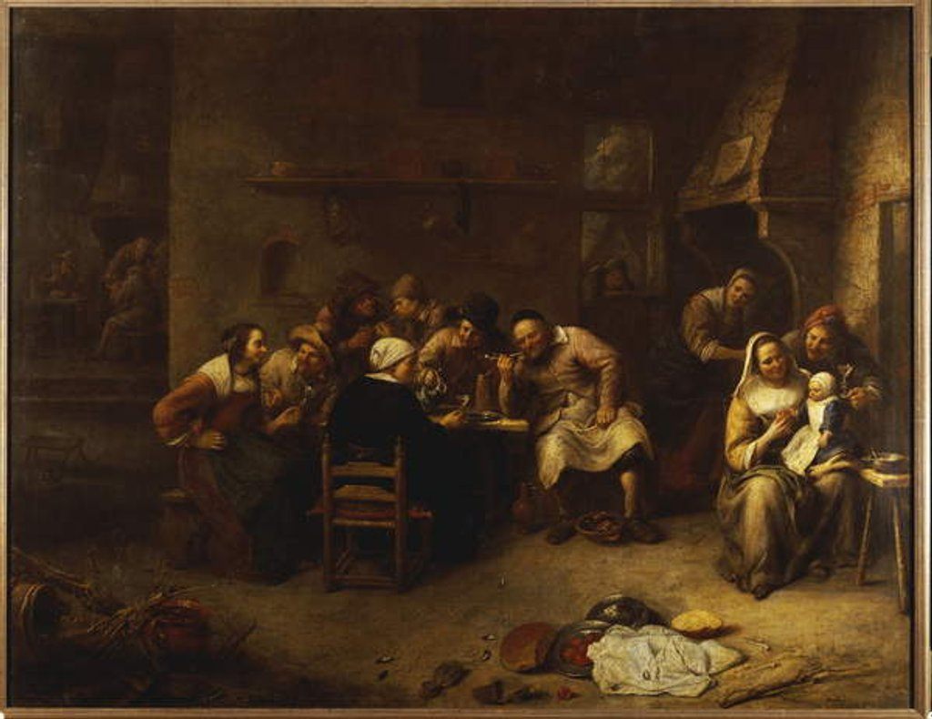 Detail of Peasants drinking and smoking in an Inn by Gillis van Tilborgh