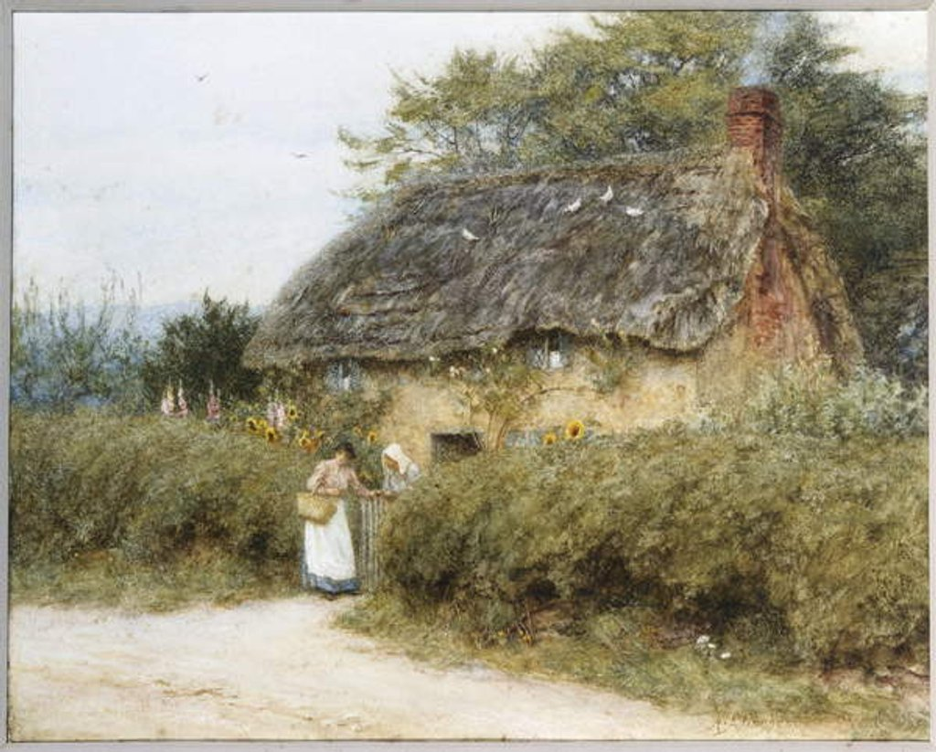Detail of A Thatched Cottage near Peaslake, Surrey by Helen Allingham