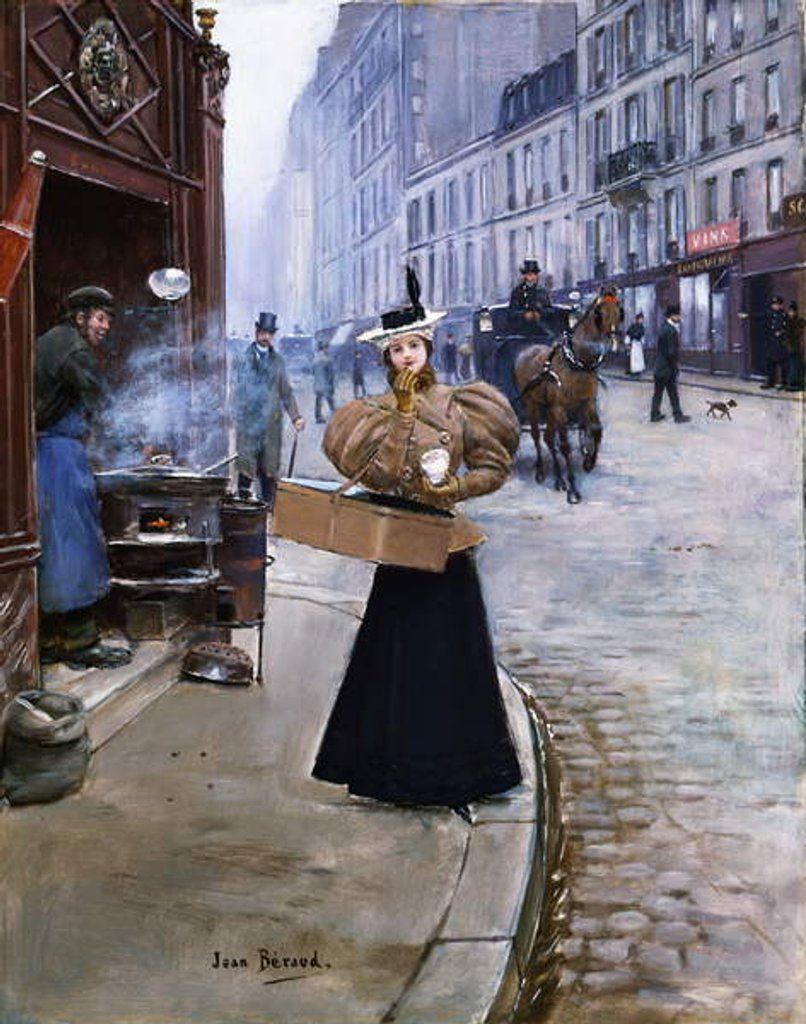 Detail of The Roasted Chestnut Seller by Jean Beraud