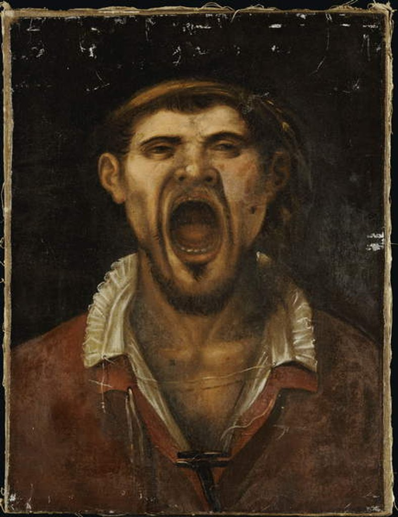 Detail of A Peasant Man Shouting by Annibale Carracci
