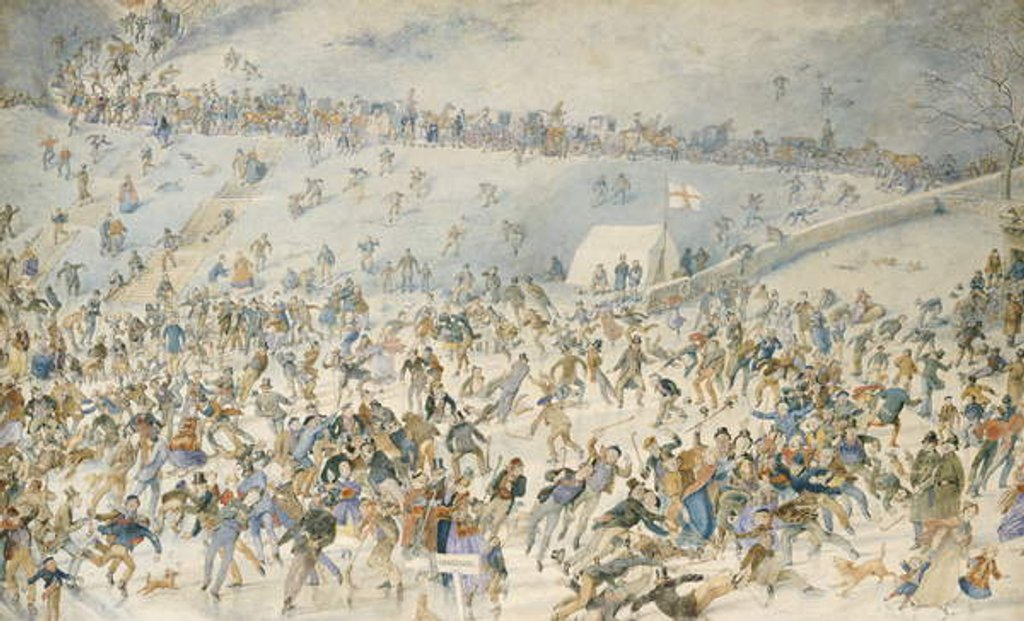Detail of Figures Ice Skating, 1876 by Charles Altamont Doyle