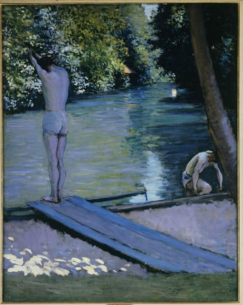 Detail of Bather about to plunge into the River Lyerres by Gustave Caillebotte