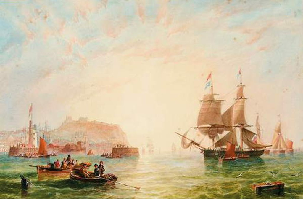 Detail of A trading brig and other vessels off the entrance to Scarborough by John Wilson Carmichael