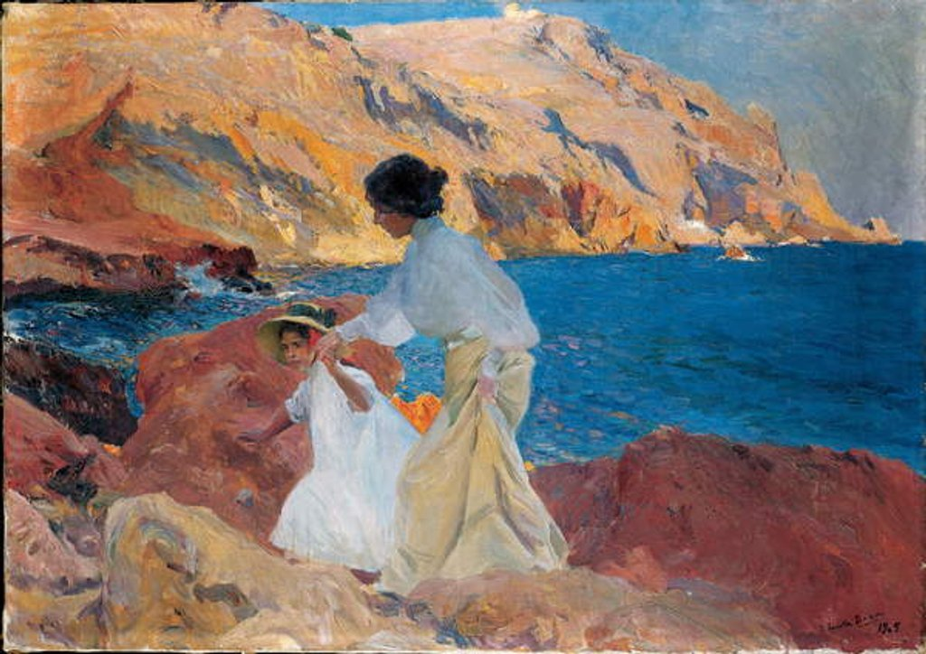 Detail of Clotilde and Elena on the Rocks, Javea, 1905 by Joaquin Sorolla y Bastida