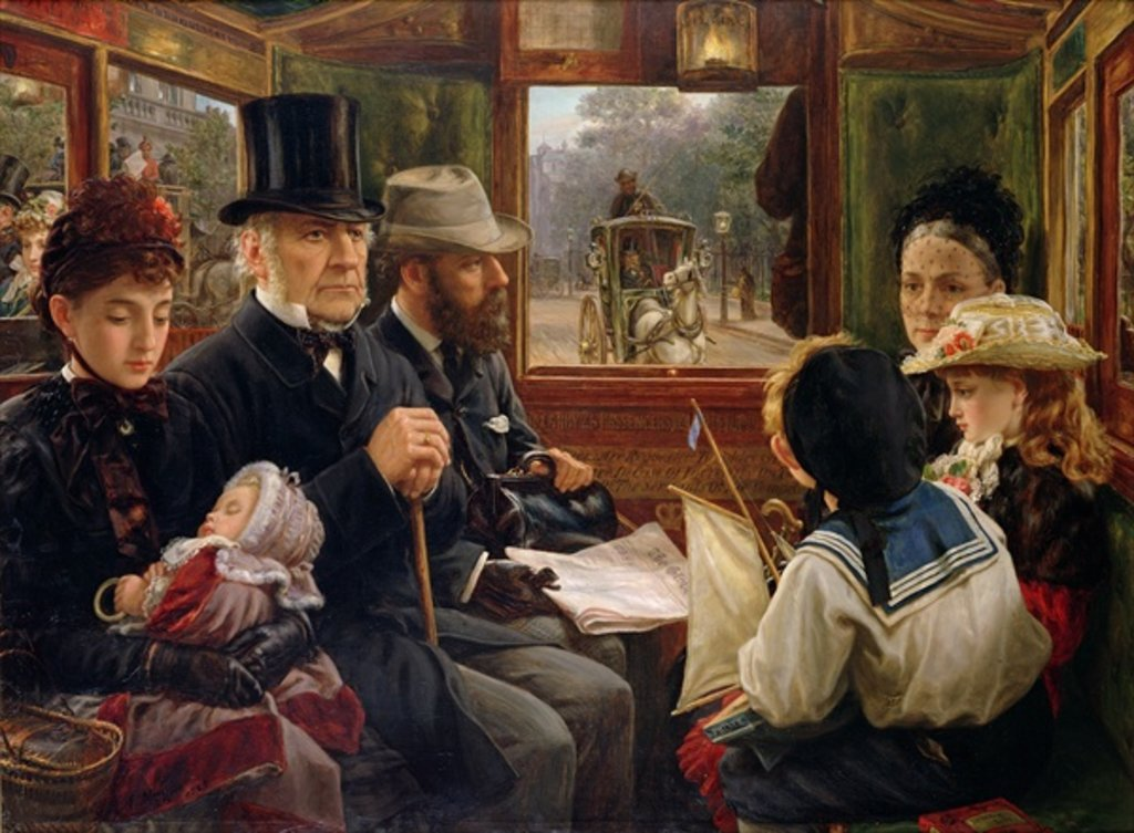 Detail of An Omnibus Ride to Piccadilly Circus, Mr Gladstone Travelling with Ordinary Passengers, 1885 by Alfred Morgan