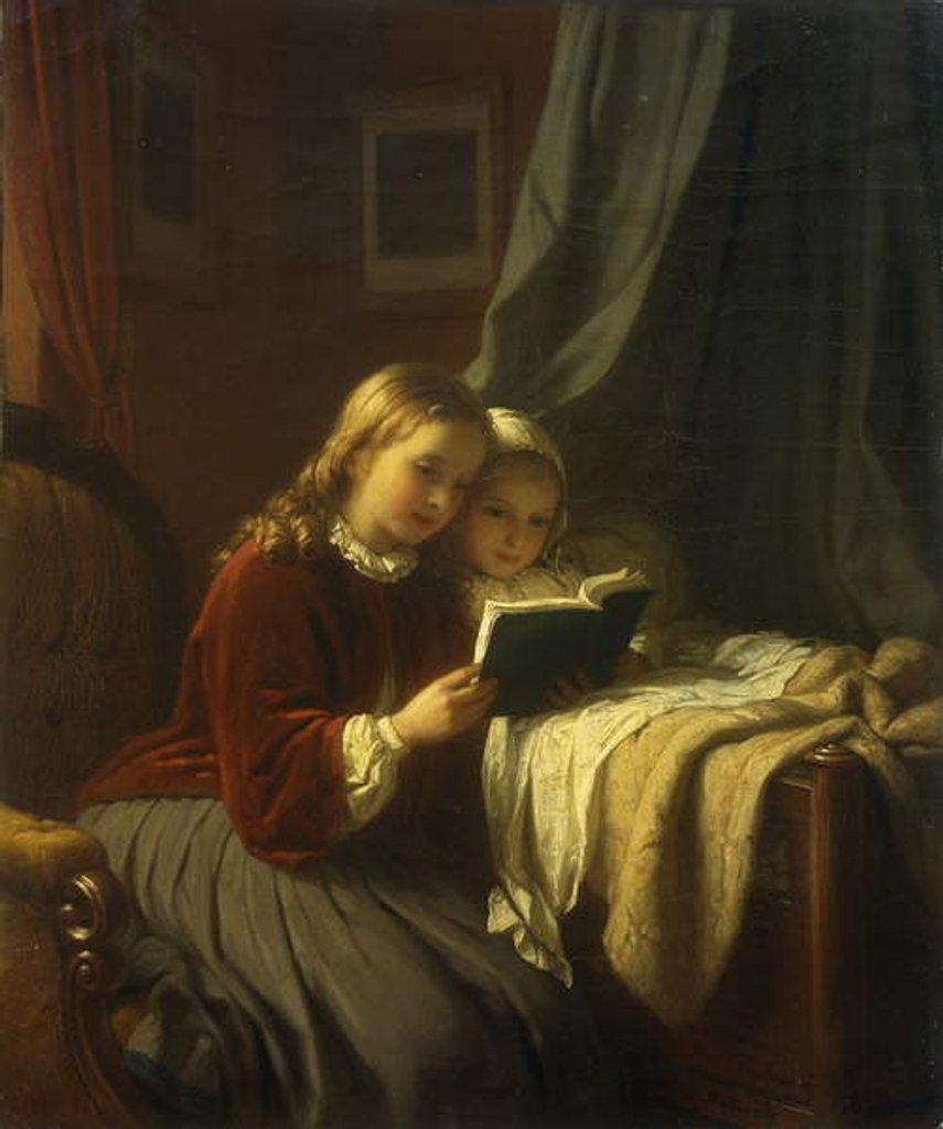 Detail of The Bedtime Story, 1867 by Johann Georg Meyer