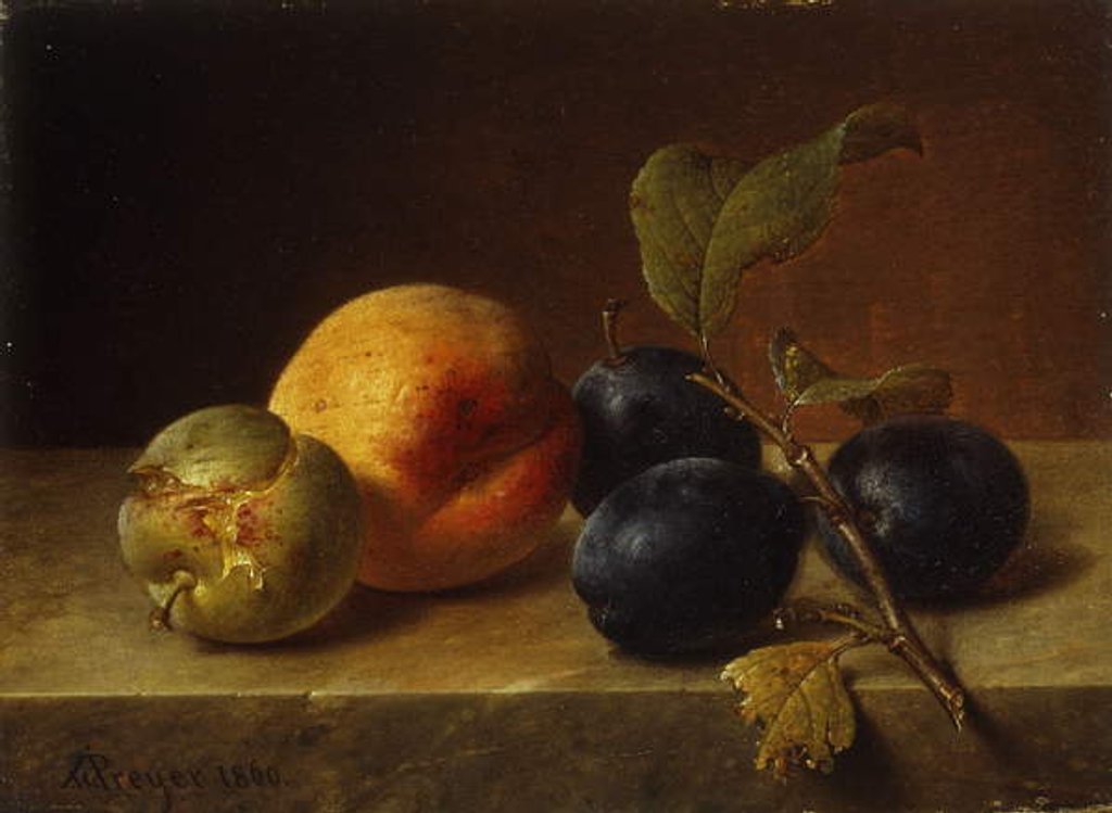 Detail of A Peach and Plums on a Marble Ledge, 1860 by Johann Wilhelm Preyer