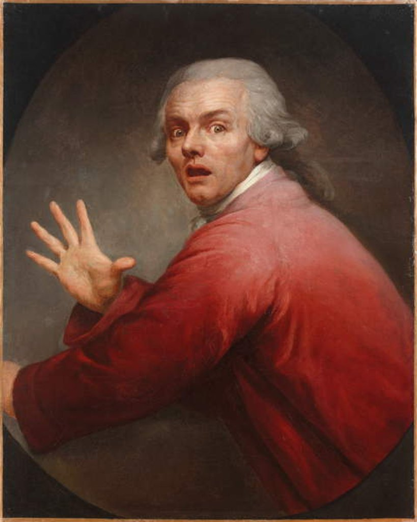 Detail of Self-portrait as a surprised and terrified man by Joseph Ducreux