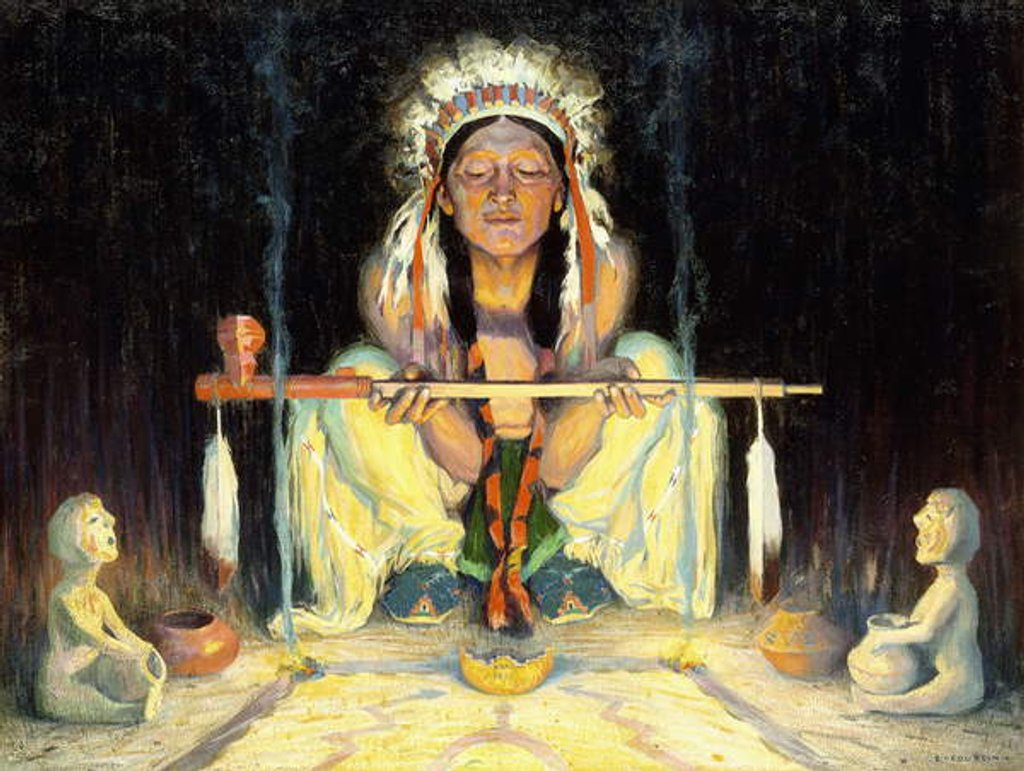 Detail of Offering to the Great Spirit by Eanger Irving Couse