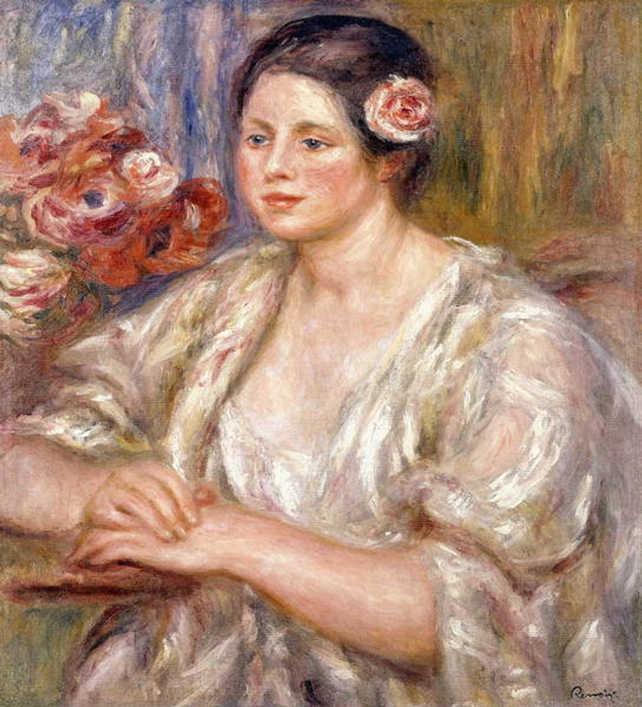 Detail of Madeleine in a White Blouse and Bouquet of Flowers, c.1915-1919 by Pierre Auguste Renoir