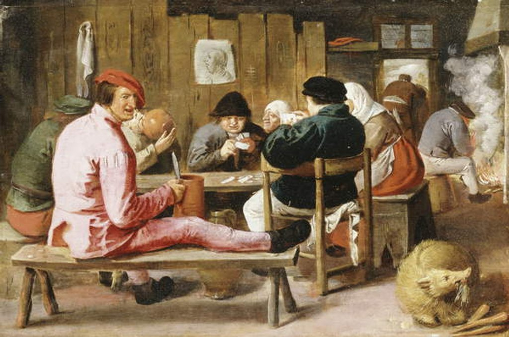 Detail of Boors Smoking and Drinking at a Table in a Tavern, c.1625 by Adriaen Brouwer