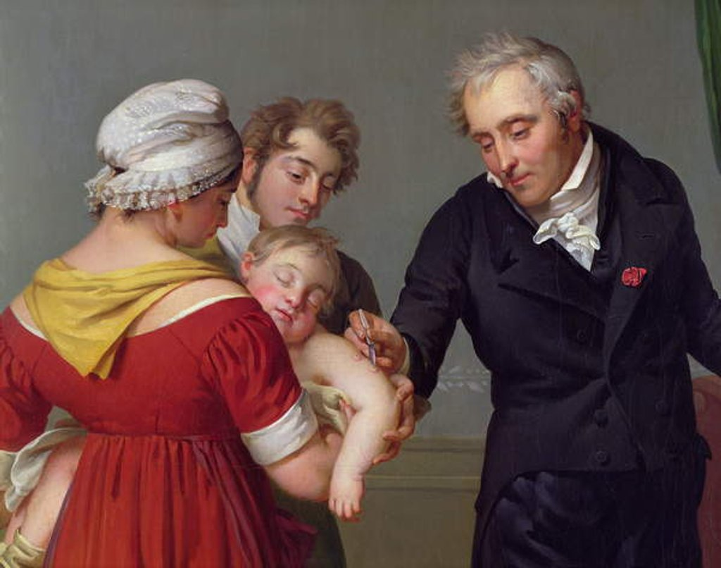 Detail of Baron Jean Louis Alibert performing the vaccination against smallpox in the Chateau of Liancourt, c. 1820 by Constant Joseph Desbordes