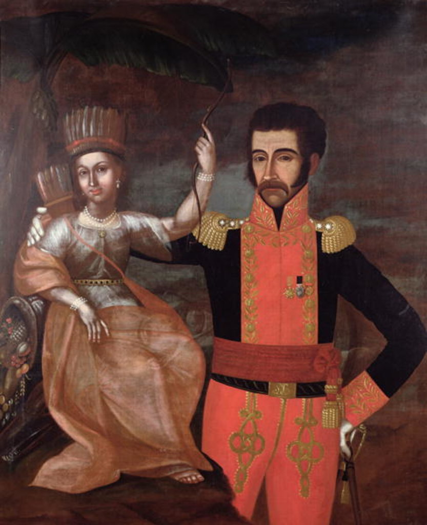 Detail of Simon Bolivar and a Native American Woman by School Spanish