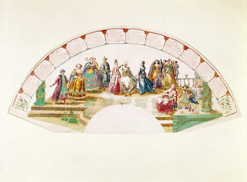 Design for a fan celebrating the Dance and Carnival of Nations, 1733 by French School