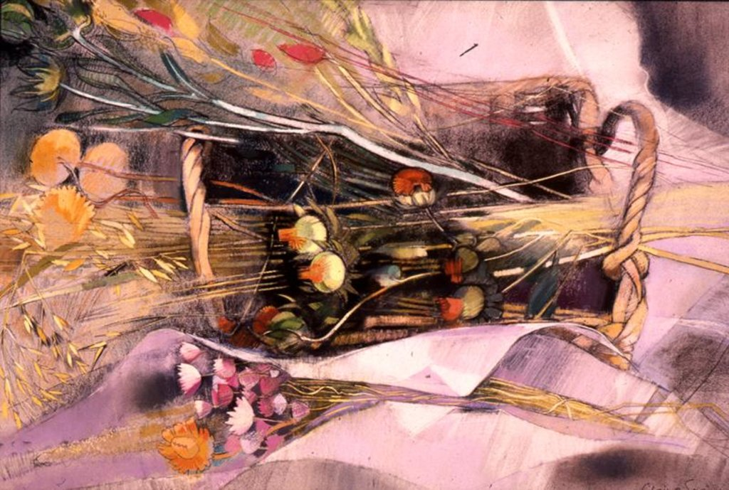 Detail of Basket of Dried Flowers by Claire Spencer
