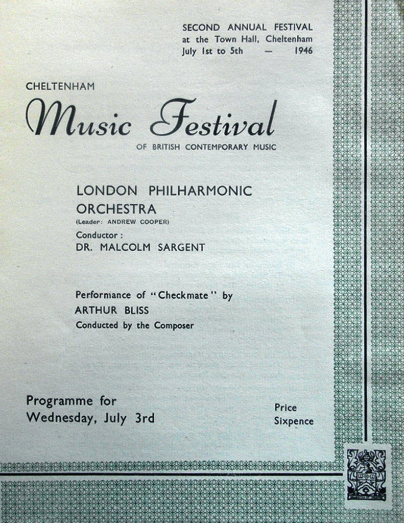 Detail of 1946 Cheltenham Music Festival Programme Cover by Cheltenham Festivals