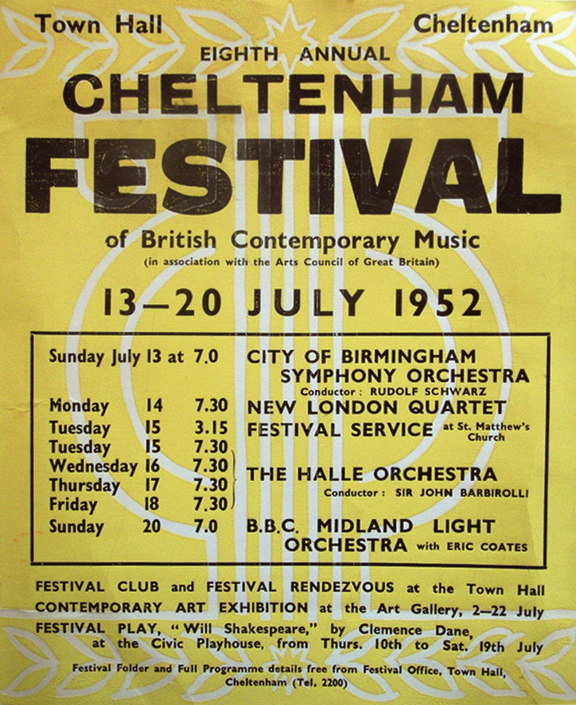 Detail of 1952 Cheltenham Music Festival Programme Cover by Cheltenham Festivals