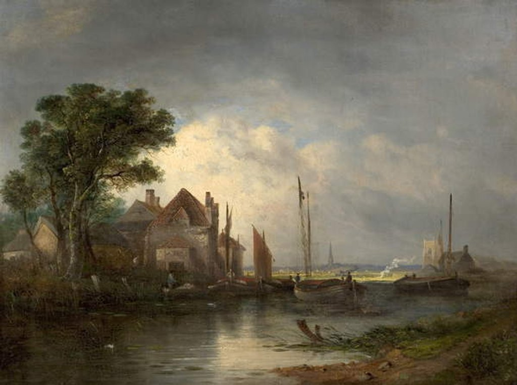 Detail of River Scene with Boats, 19th century by William Henry Crome