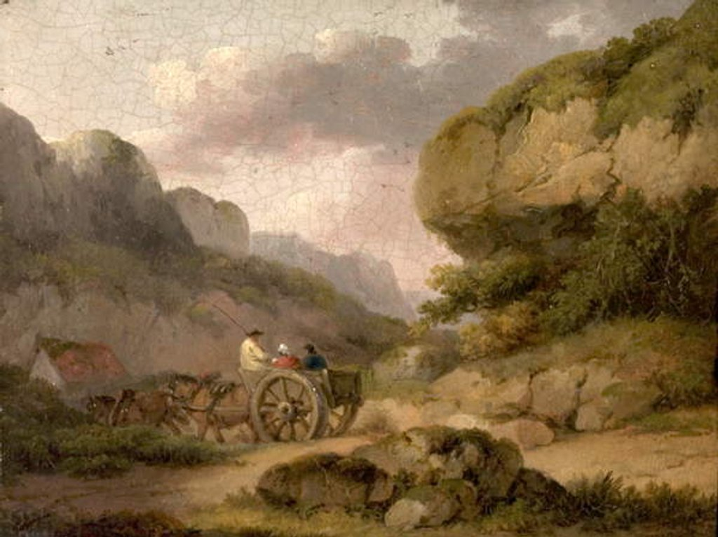 Detail of Landscape with Horses, Cart and Figures by George Morland