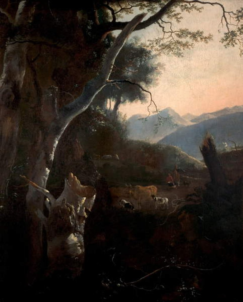 Detail of Mountainous Landscape with Peasants, Cows and Goats by Adam Pynacker