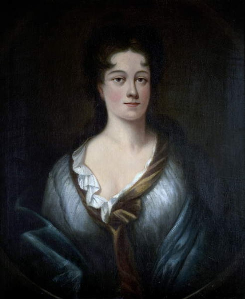 Detail of Portrait of a Young Woman in a Blue Wrap by English School
