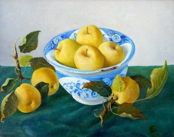 Detail of Apples in a Blue Bowl by Cristiana Angelini