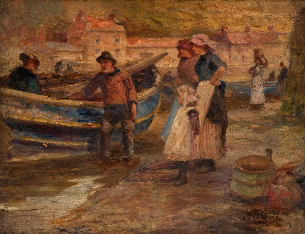 Detail of Harbour Scene with Fishermen by Robert Jobling