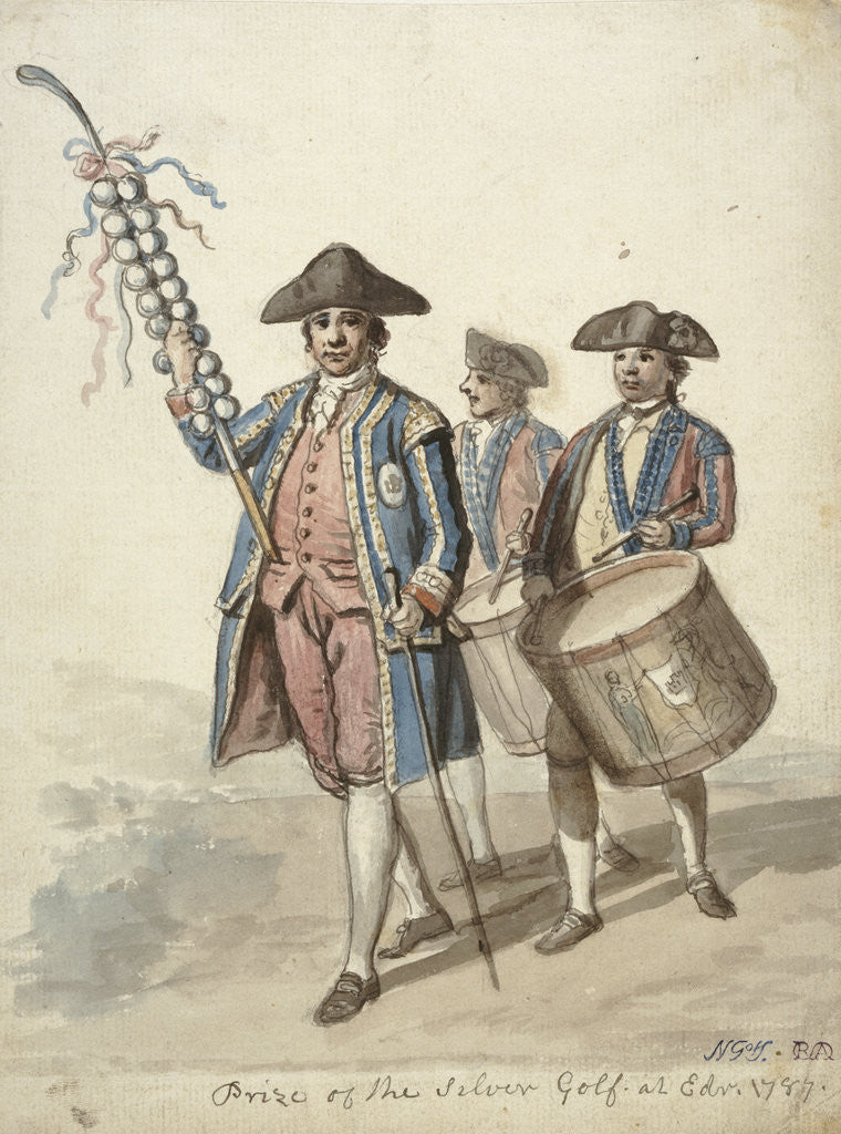 Detail of The Prize of the Silver Golf - Officer Carrying a Decorated Golf Club, Two Soldiers with Drums behind him by David Allan
