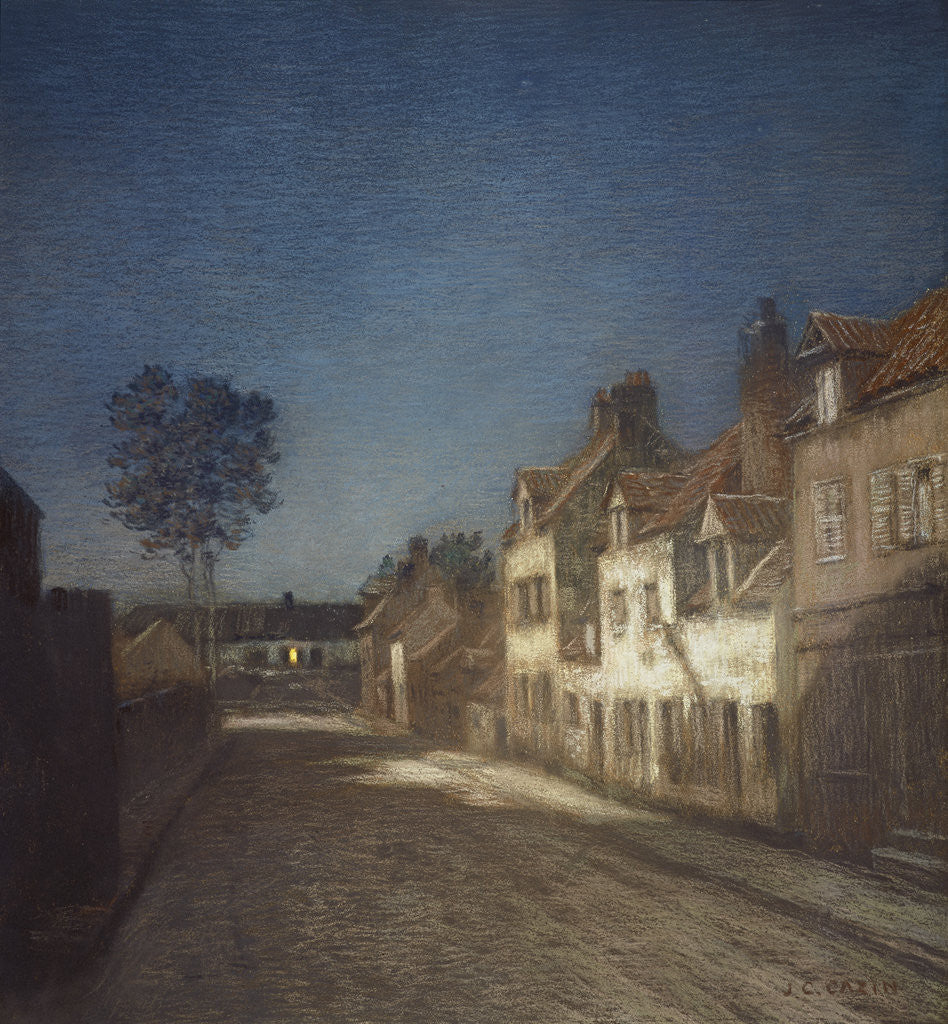 Detail of Une Rue le Soir [A Street in a Village in the Evening] by Jean-Charles Cazin