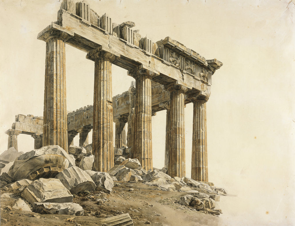 Detail of View of the East End of the Parthenon, Athens by Giovanni Battista Lusieri